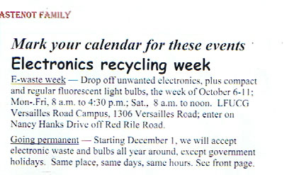 Wastenot Electronics Recyling Lexington