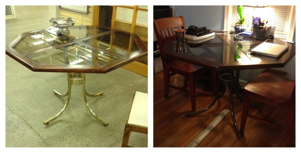 brass before and after table from habitat restore